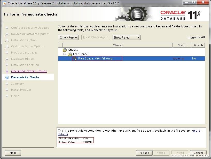 Oracle安装 检测阶段警告Free space: /tmp空间不足解决办法