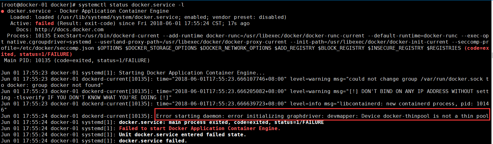 Error starting daemon: error initializing graphdriver: devmapper: Device docker-thinpool is not a thin pool